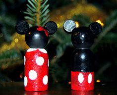 Mickey and Minie peg people