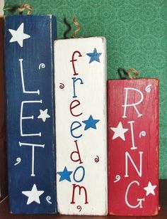 Barn Wood 2 x 4 Let Freedom Ring firecracker sign holiday country table decor.  For the 4th of July! Seasonal.