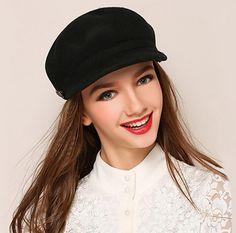 Women plain felt newsboy cap for winter fashion warm wool hats