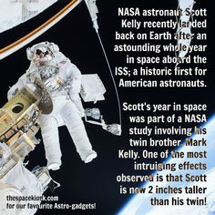 Welcome home Scott! Bite-sized, mind blowing space facts about the Universe and the cosmos. Whether you're new to astronomy / astrophysics or not, check us out @ https://www.instagram.com/thespacekiosk/    Image: NASA