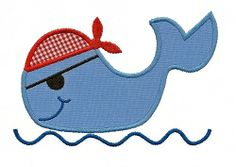 Whale Pirate Applique - 3 Sizes! | Beach/Ocean | Machine Embroidery Designs | SWAKembroidery.com Applique for Kids