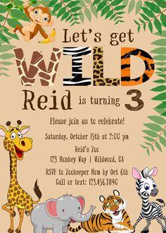 Safari Birthday Invitation Jungle Birthday Invitation Zoo