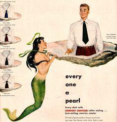 vintage mermaid pinup pearl oyster 1948 advertisement
