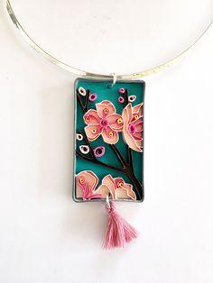 Collana in carta quilling con fiori di ciliegio, Flora_04