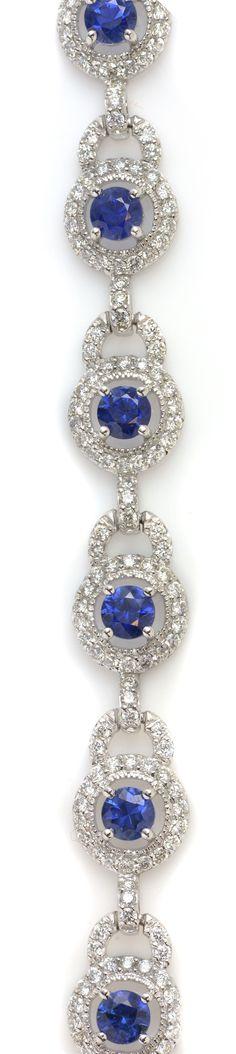 Blue Sapphire & White Diamond Statement Bracelet. See more exquisite jewelry on Gem Shopping Network. Item #304-4917 4.46 ctw Blue Sapphire Round & 2.69 ctw Diamond Round 14K White Gold Bracelet Length 7