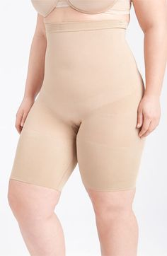 SPANX 'Slim Cognito' Mid Thigh Bodysuit Shaper (Plus Size) Nude 2X (815524028467) An innovative style that attaches to your own bra to sculpt the stomach, back and bottom half. Ultra-firm control yarns are comfortable and breathable. Color(s): black, nude. Brand: SPANX. Style Name: SPANX 'Slim Cognito' Mid Thigh Bodysuit Shaper (Plus Size). Style Number: 243207. Available In Stores.