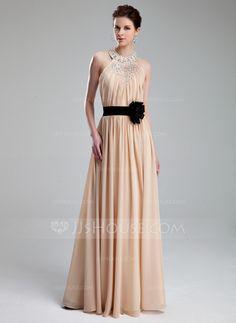 A-Line/Princess Halter Floor-Length Chiffon Charmeuse Prom Dress With Ruffle Beading Flower(s) (018019734)