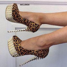 Leopard spike heels