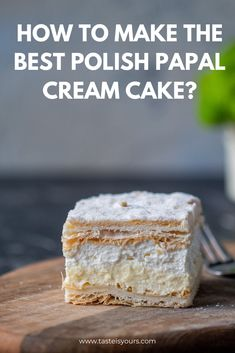 How to make the best Polish Papal Cream Cake? - Papal cream cake or kremowka is one of the best Polish desserts ever. A smooth vanilla custard fill - Custard Cake, Custard Filling, Vanilla Custard, French Puff Pastry, Cake Recipes, Dessert Recipes, Dessert Ideas, Polish Recipes, Polish Food
