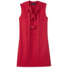 Derek Lam Red Lace-Up Shift Dress ($990) ❤ liked on Polyvore featuring dresses, tops, vestidos, red, shift dresses, lace front dress, red shift dress, red lace up dress and red dress