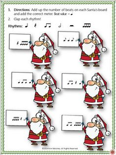 Christmas Music Activities: Rhythm and Meter with a Santa Theme    |  #musiceducation