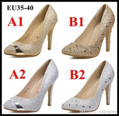 Wholesale 2014 New Shoes - Buy 2014 Glitter Rhinestone Studded Pointed Toe Stiletto Heels Pumps Wedding Bride Gold Silver Dress Shoes EU35 to 40 EPacket $33.6 | DHgate