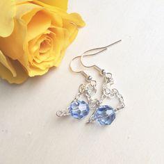 Blue Crystal Earrings, Swarovski Sapphire, Light Blue Earrings, Modern Clip On, Dangle Non-Pierced, Valentines Gift For Her, Something Blue by MadeByMissM on Etsy