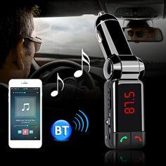 New Car Kit de Coche Bluetooth Reproductor de Audio MP3 Reproductor de Música Transmisor FM Manos Libres con Pantalla LCD USB Cargador para el iphone Samsung