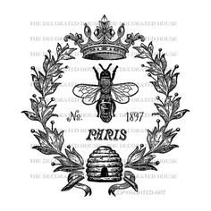 Copyrighted Art by The Decorated House: Instant Download. Vintage Queen Bee Digital.  Printable. DOWNLOAD. for Iron On Transfer,  Pillows, Tote Bags, T-Shirts, Tea Towels. Art