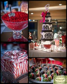 Holiday Winter wedding decor with a candy bar surrounding the cake, featuring chocolate-covered strawberries | Red, White & Black Wedding Decor, Christmas Wedding Photo Ideas