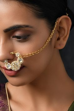 Aneesa Kundan and Pearls Nosepin – Paisley Pop Shop Nose Jewels, Bridal Nose Ring, Ear Jewelry, India Jewelry, Gold Jewelry, Jewelery, Bridal Bracelet, Latest Jewellery, Luxury Jewelry
