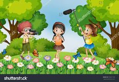 Children filming video in the park illustration