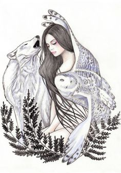Magic Forest Sticker by Andrea Hrnjak - White - Art And Illustration, Animal Sketches, Art Drawings Sketches, Animal Drawings, Fantasy Kunst, Fantasy Art, Wolves And Women, Wolf Painting, Fantasy Wolf