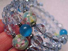 Baby Blue Cuff Wrap Bracelet Beaded w Accents of Blue & Floral Handmade  #Handmade #Cuff