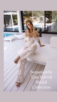 Latest Fashion Clothes, Women's Fashion Dresses, High Slit Dress, Jumpsuit With Sleeves, White Lace Jumpsuit, Backless Jumpsuit, Overall, Lace Sleeves, Puff Sleeves