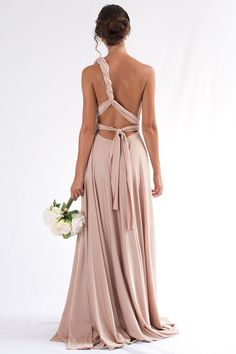 Satin Ballgown Multiway Infinity Dress in Light Gold Summer wedding ideas. Luxe Multiway Infinity Dress in Light Gold, wrap around convertible dress for bridesmaids or wedding guest outfits. Infinity Dress Ways To Wear, Infinity Dress Styles, Multiway Bridesmaid Dress, Infinity Dress Bridesmaid, Satin Dresses, Prom Dresses, Wedding Dresses, Satin Gown, Wedding Outfits