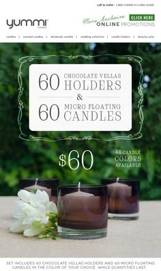 60 Large Vellas Holders and 60 Micro Floating Candles for $60! While Quantities Last.