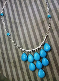 turquoise teardrop statement necklace. by Happybeadershop on Etsy, $30.00