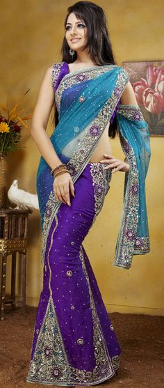#Blue Net and Purple Jacquard #LehengaStyleSaree with Blouse