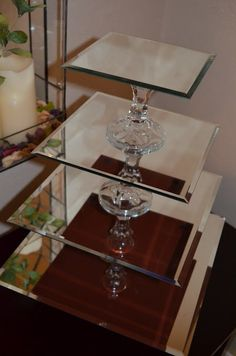 How to make cupcake stand with mirrors and candlestick holders...