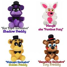 Five nights at freddy s set of 4 shadow freddy fnaf hot topic