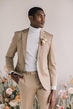 groom with beige wedding suit and turtleneck