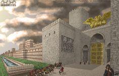 Storyboard Aracaneas Stadsmur Gyllene Port Ankomst Skymning