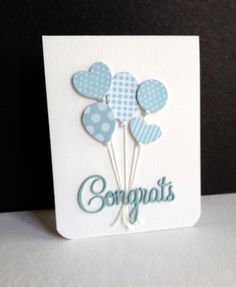 handmade baby congratulation card from I'm in Haven ... bouquet of die cut balloons from coordinating blue print papers ... CONGRATS die cut in blue ... delightful!!