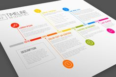 Vector Timeline Template with Pins | Timeline, Template and ...