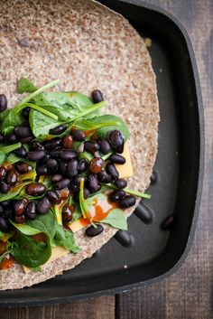 Spinach and Black Bean Quesadilla. So healthy, so fabulous, so delicious.