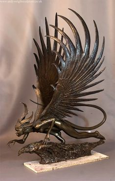Harpy Sculpture 4 Copy by artyandy on DeviantArt Bronze Sculpture, Sculpture Art, Metal Sculptures, Abstract Sculpture, Fantasy Creatures, Mythical Creatures, 3d Art, Dragon Art, Creature Design