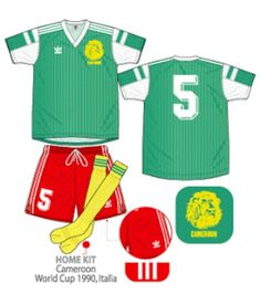 Cameroon home kit for the 1990 World Cup Finals.