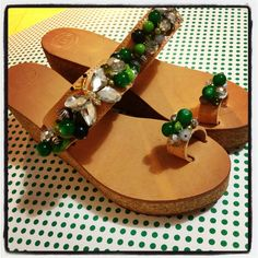 655242f264c Handmade leather platforms with green and silver beads ( semiprecious,  crystals, metallics, etc