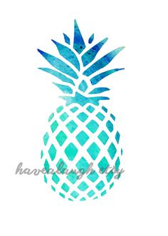 Turquoise Water Color Pineapple Card or Print by HaveALaugh