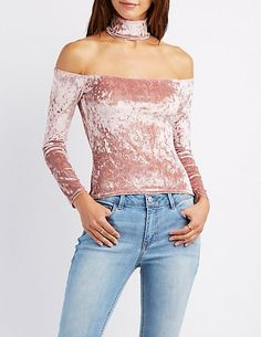 Velvet Floating Mock Neck Top