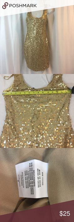 As U Wish SZ M Gold Sequin  Dress As U Wish SZ M Gold Sequin Dress From Shoulder to bottom is approximately 33in. As U Wish Dresses