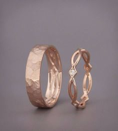 ✿ DESCRIPTION Handmade solid 14k rose gold bands His and Hers wedding set. Wedding ring is the one piece of jewelry you wear the most. Hence, its design should go along with everything you wear, from a cocktails dress to your casual outfit. This wedding rings set design symbolizing the #bandofgoldring