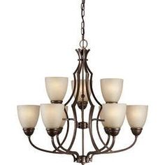 Shandy 28-In 9-Light Black Cherry Tinted Glass Candle Chandelier Lw228