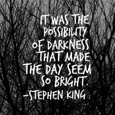 """It was the possibility of darkness that made the day seem so bright."" - Stephen King, Wolves of the Calla Dark Tower Author Quotes, Poem Quotes, Writing Quotes, Words Quotes, Great Quotes, Quotes To Live By, Life Quotes, Inspirational Quotes, Sayings"