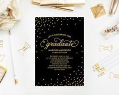 Printed - Confetti Graduation Party Invitation