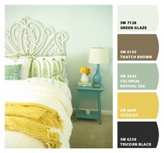 Those are the 3 colors i think will look great, the light and dark blue and yellow! i love that color on the wall!