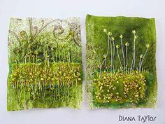 Velvet Moth Studio: Paper Artsy - Sprays Challenge by Diana Taylor. Embroidery Art, Embroidery Stitches, Machine Embroidery, Tea Bag Art, Tea Art, Textile Fiber Art, Textile Artists, Creative Textiles, Fabric Postcards