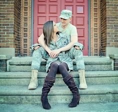 army couple wedding sitting on steps