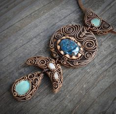 FREE SHIPPING  Moonstone Turquoise and Chrysocolla Necklace